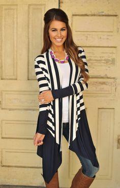 Dottie Couture Boutique - Long Striped Cardigan- Navy , $36.00 (http://www.dottiecouture.com/long-striped-cardigan-navy/)