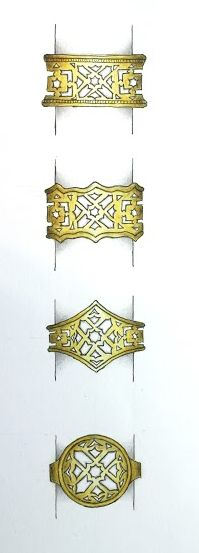 These sketches are potential re-models for our customer's existing Moroccan style cut-out ring which she found too bulky to wear. Keeping a similar look, Caz has re-designed it into 4 possible outcomes that will sit closer to the finger and be more wearable! #goldring #jewellerydesign #bespoke