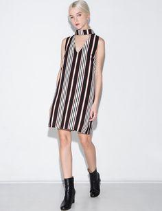 Stripe Choker Collar Dress