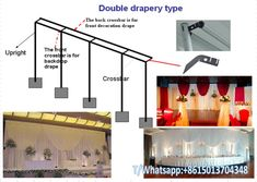 adjustable pipe and drape backdorp kits system design,wedding double drapery backdrop kits for sale,wedding pipe and drape booth for sale