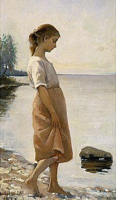"Amélie Lundahl, ""Before Bathing"" Painting People, Figure Painting, Amelie, Nordic Art, Call Art, Sea Art, Art For Art Sake, Portrait Art, Art And Architecture"