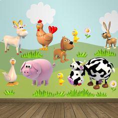 Vinilos Infantiles: Kit Animales de la granja. Vinilo decorativo infantil en kit. #vinilosdecorativos #decoracion #patrones #mosaico #cabra #gallina #perro #pollo #conejo #pato #cerdo #vaca #teleadhesivo