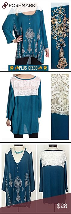 """Plus Sz Tribal Soft Teal Tunic Lace 1X 2X 3X Lovely tribal teal tunic featuring lace panel on back & shoulders...so trendy & gorgeous. Tribal design in tan & 3 bronze faux buttons add a nice touch. Lightweight, Flowy 95% rayon/5% spandex 1X2X3X New from maker without tags   Measurements laying flat:  1X Bust 23"""" Length 28"""" 2X Bust 24"""" Length 29"""" 3X Bust 25"""" Length 29"""" lace from day to night Tops Tunics"""