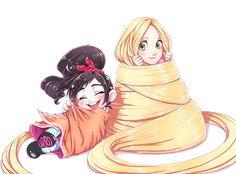 Rapunzel and Vanellope Von Schweetz. ahhh mis dos más favoritas de la vidaaaaaaaa♥