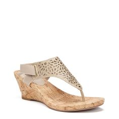 851b2b4559b White Mountain Women s Alise Wedge Sandals (Light Gold Silver)