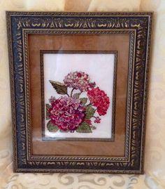 "Counted cross stitch design.""Hydrangeas"" designed by Glynda Turley. Stitched by Jen Weaver  framed by Jen Weaver."
