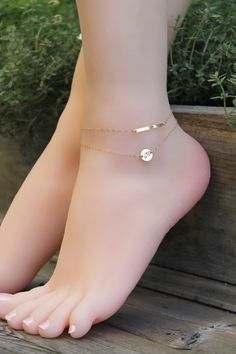 Layered Anklet personalized 14k gold filled by potionumber9
