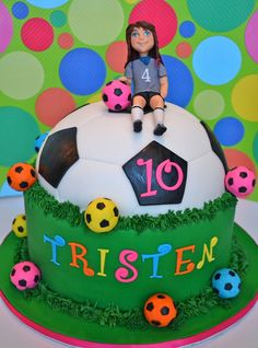 This Is The Cake I Made Today For A Little Girl Who Loves Soccer She Picked The Design Of The Cake Herself Including The Bright Fondant So