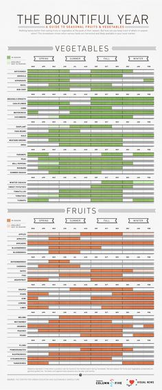 Infographic: The Bountiful Year: A Visual Guide To Seasonal Produce // Handy to consult for finding recipes before you hit the farmer's market!