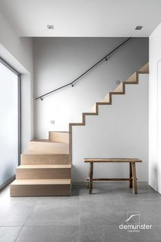 19 Ideas For Stairs Modern Concrete Interiors Round Stairs, Open Stairs, Floating Stairs, Home Stairs Design, Interior Stairs, Stair Design, Wooden Staircases, Modern Staircase, Spiral Staircase