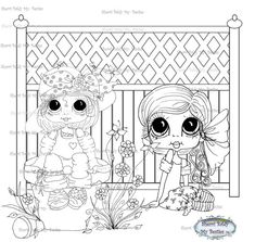 INSTANT DOWNLOAD Digi Stamps Big Eye Big Head Dolls Digi Bestie Sitting Besties By Sherri Baldy