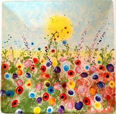 Fingerprint Garden. Flowers are made from children's fingerprints. First graders.