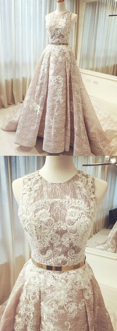A-line Scoop Sweep/Brush Train Sleeveless Tulle Prom Dress/Evening Dress # VB1008 #lace #belt #fashion #long #prom #popular #A-line #evening