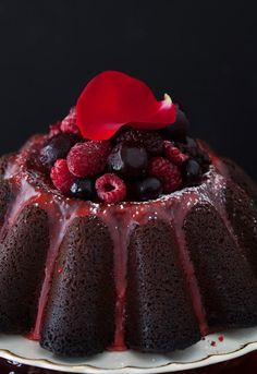 Dark Chocolate Brandy & Cherry Cake