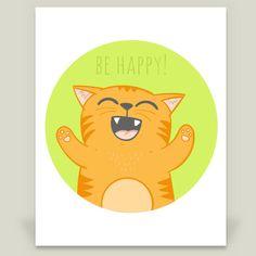 Fun Indie Art from BoomBoomPrints.com! https://www.boomboomprints.com/Product/brynza/Happy_cat/Art_Prints/8x10_Print/