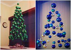 Сказочная елка из шаров, подвешенных к потолку на леску.