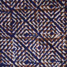 Handmade African Batik Fabric Fat Quarter. Blue, Brown, Pink.  AO091409