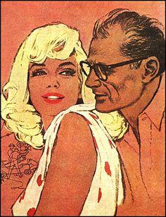 MM and Arthur Miller  artist- Jon Whitcomb