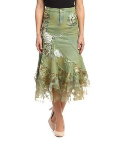 Look what I found on #zulily! Beige & Green Tuscany Collezioni Denim Skirt by ROSSI ROMA #zulilyfinds