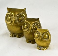 Brass Owl Family - Vintage Mod Big Eyed Owl Figurines -  Dad Mom Baby by ChicMouseVintage on Etsy https://www.etsy.com/listing/273202636/brass-owl-family-vintage-mod-big-eyed