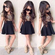 Fashion Kids Girl's Leopard Patchwork Short Sleeve High Waist Casual Pleated Dress G Little Girl Outfits, Cute Outfits For Kids, Little Girl Fashion, Toddler Fashion, Cute Kids, Kids Fashion, Latest Fashion, Fashion 2016, Fashion Styles