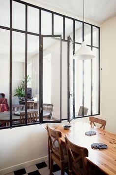 interior shutters in loft wall, no window Interior Window Shutters, Interior Windows, Garage To Living Space, Loft Wall, Glass Stairs, Upstairs Loft, Small Apartment Design, Loft Interiors, Glass Kitchen