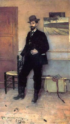 Portrait of Ramon Casas by Santiago Rusinol. I thought only texas oil men wore cowboy boots with a suit. Casas just about gets away with it. #cowboy #fashion At Eagle Ages we loves cowboy boots. You can find a great choice of second hands & vintage cowboy boots in our store. https://eagleages.com/shoes/boots/men-boots/cowboy-boots.html