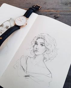 "Quick sketch from earlier today  You guys can still use my @danielwellington 15% discount code ""15HIBA"" to get one of their Eid gift sets…"