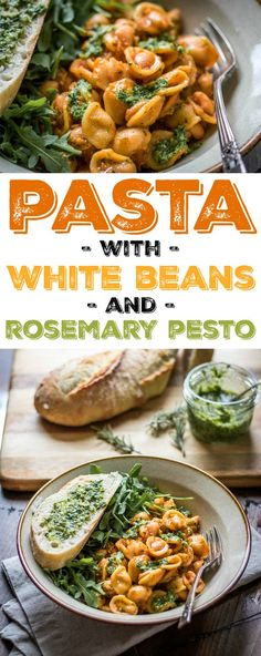 Monday is almost always pasta night in my house -- mostly because my fridge is empty after the weekend! I love quick and easy recipes like White Beans and Pasta. I make mine with rosemary pesto for an extra punch of flavor!