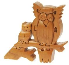 Owl Mum & Baby 3D Wooden Puzzle : Fun Novelty Handcrafted Wood Christmas Gift Idea : Buy a handmade unique Xmas Present for Lovers of Owls : Cute Present for Mum, Wife, Girlfriend, Bird Of Prey Admirers : Brain Teaser Gifts : Ornaments for the Home! (Size : Width 19 x Height 18cm)