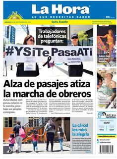 Los temas destacados son: Trabajadores de telefónicas preguntan #YSiTePadaATi, Alza de pasajes atiza la marcja de obreros, La Cárcel les robó la alegría, Julexi dejauna gran lección, y Falla el corazón de Bucaram.