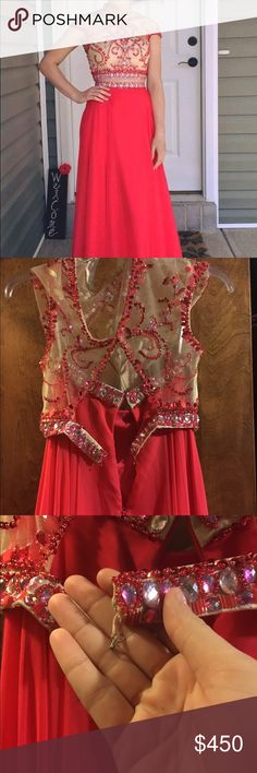 Rachel Allan prom dress Two piece only worn once, taken great care of other than bottom hook. (last picture) Will have to be sewn back in, quick and easy fix. Red/pink color and long dress. Fits a 5'7 person but goes all the way to ground. Rachel Allan Dresses Prom