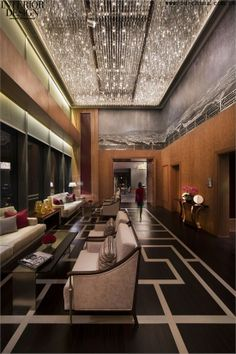 Отель Jing-An Shangri-La, дизайнеры Hirsch Bedner Associates Lobby Lounge, Bar Lounge, Hotel Lobby, Modern Interior, Interior Architecture, Interior Design, Lobby Reception, Office Reception, Restaurant Lighting