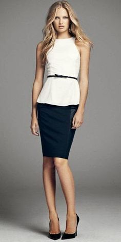 Perfect for spring! Love that top with the pencil skirt and the heels complete the look perfectly. Simple, but classic.