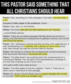 """Finally, a pastor that has read the Bible.  True Christians are not homophobes, but the reality is that most people in the church are just that """"church people"""" with no idea what the bible says."""