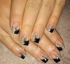 Black is undoubtedly one of the crucial traditional colours. Choosing a black impressed manicure is an aesthetic and stylish choice when see. Black Silver Nails, Silver Nail Art, Black Nail Art, Gel Nail Art Designs, Black Nail Designs, Cute Nail Designs, Gel Nails, Acrylic Nails, Manicure