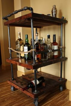 Handmade Rustic Industrial Pipe and Solid Wood Bar Cart. Unique and Customizable for whiskey, wine, Diy Bar Cart, Gold Bar Cart, Bar Cart Decor, Bar Carts, Pipe Furniture, Rustic Furniture, Furniture Ideas, Furniture Vintage, Cheap Furniture