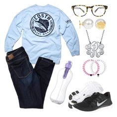 """""""It felt like Friday all day today.."""" by sheyannereed ❤ liked on Polyvore featuring Costa, My Name Necklace, Warby Parker, American Eagle Outfitters and NIKE"""