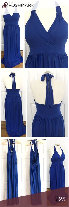 Attention Blue Maxi Dress Long dress, halter tie around neck. Vneck, padding so you don't need to wear a bra! Stretchy fabric. 95% rayon 5% spandex. Size large. Attention brand. Machine wash. Also selling in pink! See separate listing and bundle for a discount! Attention Dresses Maxi