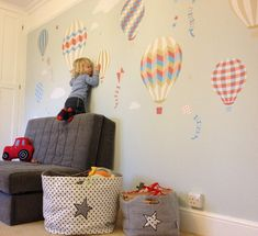 Enchanted Interiors Deluxe Hot Air Balloons & Kites Premium Self Adhesive Fabric Nursery Wall Art