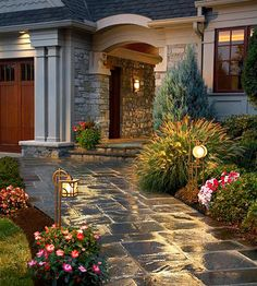 Backyard Landscaping Ideas - Add soome entry path lights for great curb appeal for your home. Garden Path Lighting, Landscape Lighting, Outdoor Lighting, Outdoor Decor, Backyard Lighting, Outdoor Walkway, Paver Walkway, Slate Walkway, Pergola Patio
