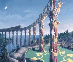Der kanadische Künstler Rob Gonsalves hat sich darauf spezialisiert, Kunstwerke zu schaffen, in denen er mit der menschlichen Wahrnehmungskraft spielt. Und nebenbei wird die Fantasie auf eine wunderbare Reise geschickt. Der Blick wandert hin und her und hoch und runter und am Ende fragt man sich nur: Wie macht diese Mann das bloss? Schau dir