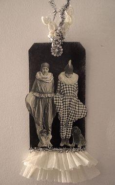 Mixed media art & diy crafts.  Vintage ephemera, gift tag & ruffled crepe paper.