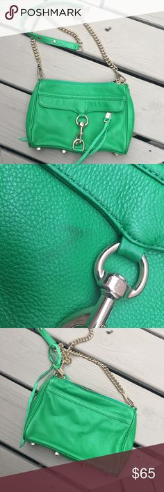 Rebecca Minkoff Mac. Authentic Rebecca Minkoff green MAC crossbody. In excellent condition other than a little spot on front (as pictured) I'm sure you could get it off with something. Inside is perfect. Comes with dustbag. No trades. Rebecca Minkoff Bags Crossbody Bags