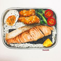 recipe idea - 卢 - Bento Ideas Food Design, Food N, Food And Drink, Onigirazu, Watercolor Food, Art Watercolour, Food Sketch, Food Cartoon, Fast Food