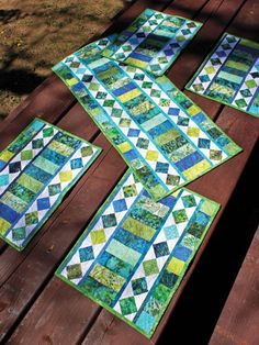 Jelly roll friendly. Table Charm Two Table Runner & Place Mats Pattern