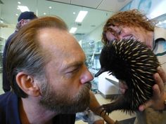 That's a wrap!  It's been a busy two days at Healesville Sanctuary with the filming of a brand new Australian feature film, Healing. But actor, Hugo Weaving, managed to take some time out to meet one of our own stars, Wilson the Echidna!
