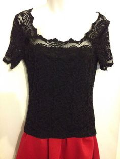 Coldwater Creek size S black lace overlay blouse nylon blend EUC  #ColdwaterCreek #KnitTop #EveningOccasion #KnitLaceBlouse #Fashion