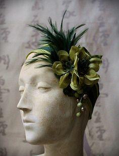 ESMERALDA Green Floral Feather Headband by carlafoxdesign on Etsy, $95.00