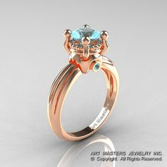 Classic Victorian 14K Rose Gold 1.0 Ct Blue Topaz by DesignMasters, $1139.00
